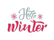 Здравствуйте текст зимы со снежинками на предпосылке Каллиграфия, дизайн литерности Оформление для поздравительных открыток, плак иллюстрация вектора
