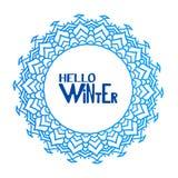 Здравствуйте! текст зимы также вектор иллюстрации притяжки corel Стоковое Изображение