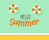 Здравствуйте! текст лета с предпосылкой бассейна Дизайн иллюстрации вектора на сезонные праздники, каникулы, курорты, лето бесплатная иллюстрация