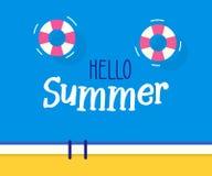 Здравствуйте! текст лета с предпосылкой бассейна Дизайн иллюстрации вектора на сезонные праздники бесплатная иллюстрация
