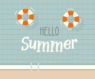 Здравствуйте! текст лета с предпосылкой бассейна Дизайн иллюстрации вектора на сезонные праздники, каникулы иллюстрация вектора