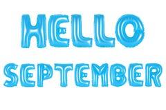 Здравствуйте! цвет -го сентябрь, голубой Стоковая Фотография