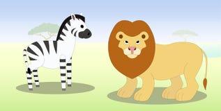 Зебра и лев шаржа Стоковое Изображение