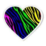 зебра стикера радуги сердца Стоковое Фото