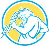 Зевс владея кругом Thunderbolt ретро Стоковое Изображение RF