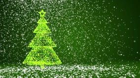 Зеленая большая рождественская елка от частиц зарева сияющих на левой стороне экрана Тема зимы на Xmas или Новый Год иллюстрация штока
