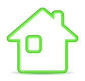 Зеленая домашняя икона на белой предпосылке Стоковые Фото