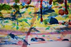 Зеленая желтая краска, воск, предпосылка акварели абстрактная Стоковое фото RF