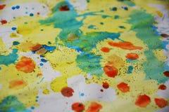 Зеленая желтая красная пастель пятнает абстрактную предпосылку Стоковое Изображение