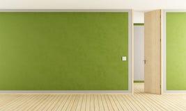 Зеленая живущая комната с открыть дверью иллюстрация вектора