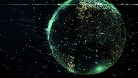 Зеленая земля планеты вращая в глобальной футуристической сети кибер иллюстрация штока