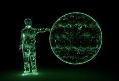 Зеленая земля человека энергии цифров иллюстрация штока