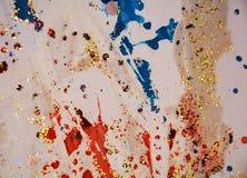 Зеленая золотая фосфоресцентная желтая красная пастельная абстрактная предпосылка Стоковые Изображения RF