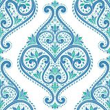 Зеленая и голубая винтажная безшовная картина на белой предпосылке иллюстрация вектора