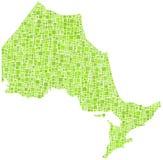 Зеленая карта мозаики Онтарио Стоковые Фото