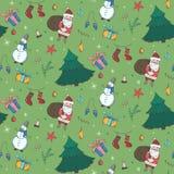 Зеленая картина рождества с элементами doodle цвета стоковая фотография rf