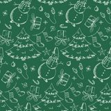 Зеленая картина с элементами рождества руки вычерченными стоковые изображения rf