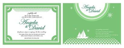 Зеленая карточка свадьбы Стоковое Изображение