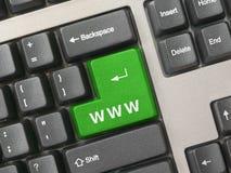 зеленая клавиатура ключа интернета Стоковое Изображение RF