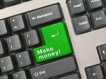 зеленая ключевая клавиатура зарабатывает деньги Стоковая Фотография RF