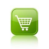 Зеленая кнопка магазинной тележкаи Стоковая Фотография RF