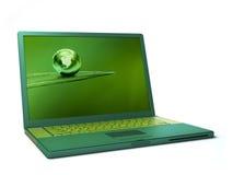 зеленая компьтер-книжка иллюстрация вектора