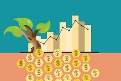 Зеленая концепция экономики: Диаграмма растущей устойчивой окружающей среды Стоковые Фото