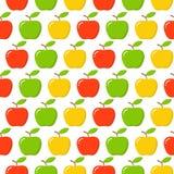 Зеленая, красная, желтая картина Яблока безшовная бесконечная Красный плодоовощ яблока иллюстрация вектора