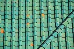 Зеленая крыша плитки для предпосылки Стоковое Изображение