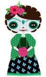 Зеленая кукла catrina иллюстрация штока