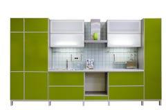 зеленая кухня самомоднейшая стоковая фотография rf