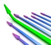Зеленая левая стрелка вперед показывает рост Стоковая Фотография