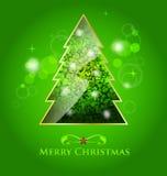 Зеленая лоснистая иллюстрация рождественской елки Стоковое Изображение RF