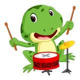 Зеленая лягушка играя барабанчик иллюстрация штока