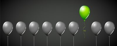 Зеленая муха воздушного шара далеко от черных воздушных шаров на дизайне концепции черной предпосылки различном иллюстрация штока