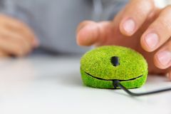 Зеленая мышь компьютера Стоковое Изображение