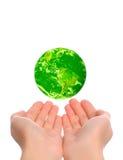 зеленая планета сохраняет Стоковое Фото