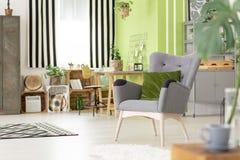 Зеленая подушка на сером кресле в современном острословии интерьера живущей комнаты стоковые фотографии rf