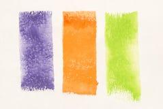зеленая померанцовая пурпуровая акварель Стоковое фото RF