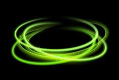 Зеленая предпосылка светового эффекта круга Линия след зарева свирли волшебная Движение светового эффекта иллюстрация вектора