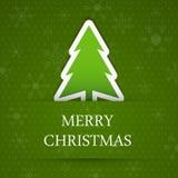 Зеленая предпосылка с Рождеством Христовым с деревом ели. Стоковое Изображение RF