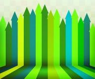 Зеленая предпосылка этапа стрелок Стоковые Фотографии RF