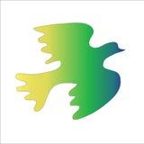Зеленая птица на белой предпосылке Стоковые Фотографии RF