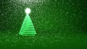 Зеленая рождественская елка от частиц зарева сияющих на левой стороне Тема зимы для предпосылки Xmas или Нового Года с космосом э иллюстрация вектора
