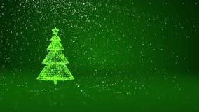 Зеленая рождественская елка от частиц зарева сияющих на левой стороне в широкоформатном всходе Тема зимы на Xmas или Новый Год иллюстрация штока