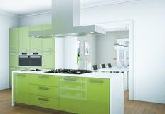 Зеленая современная иллюстрация дизайна интерьера кухни стоковое изображение rf