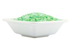 Зеленая соль для принятия ванны для спы в шаре Стоковое фото RF