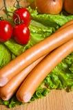 зеленая сосиска салата Стоковое Изображение