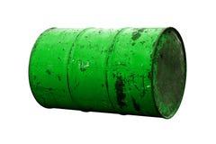 Зеленая старая ржавчины масла бочонка изолированная на белой предпосылке Стоковая Фотография