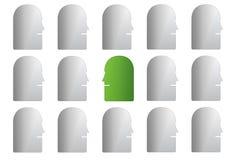 Зеленая сторона в серой группе Стоковая Фотография
